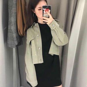 Zara Cropped Denim Utility Jacket